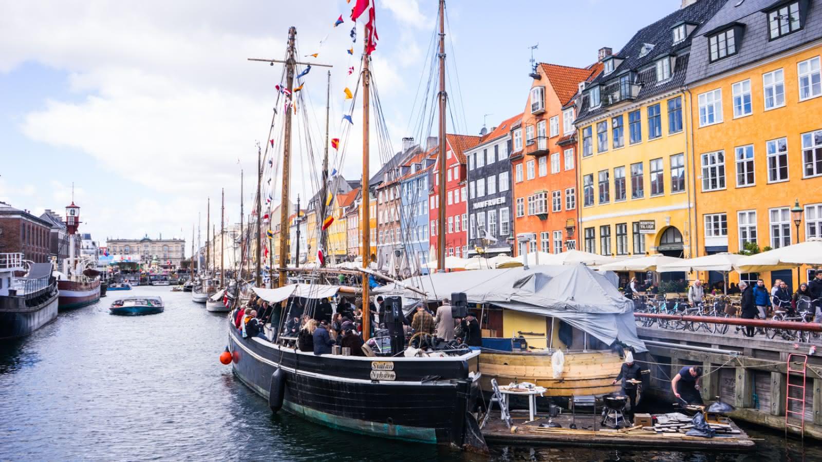 Nyhavn harbor during the SANDEMANs Free Tour in Copenhagen