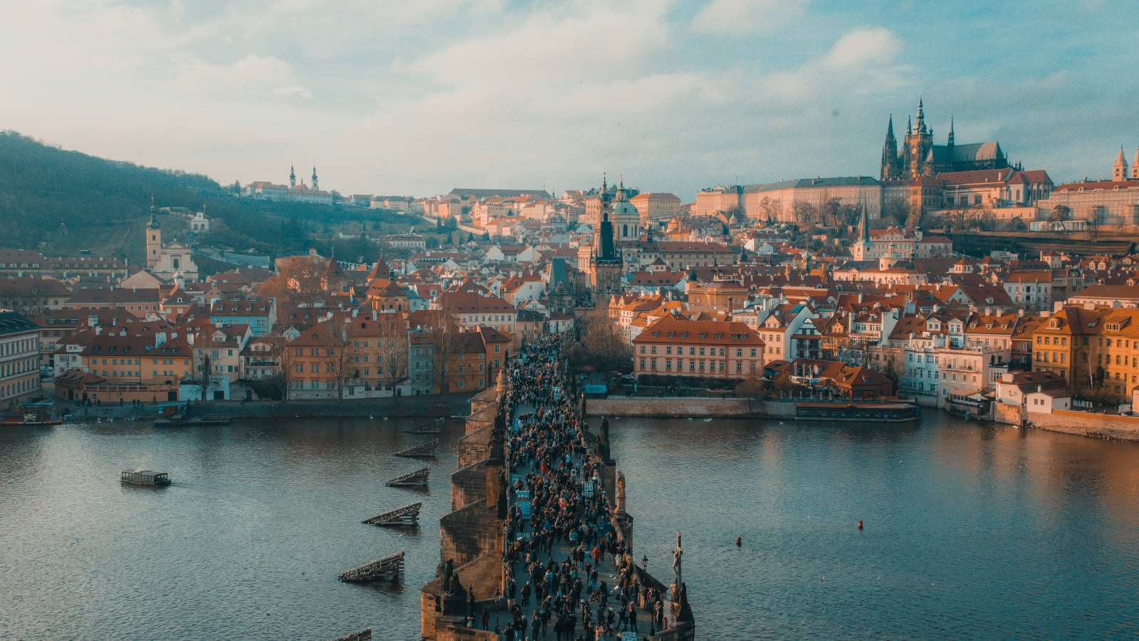 Aerial views of Charles Bridge in Prague